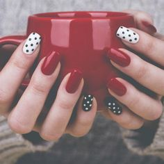Nail art is a very popular trend these days and every woman you meet seems to have beautiful nails. It used to be that women would just go get a manicure or pedicure to get their nails trimmed and shaped with just a few coats of plain nail polish. Dot Nail Art, Polka Dot Nails, Nail Art Dotting Tool, Diy Nails Dots, Fancy Nails, Trendy Nails, Cute Red Nails, Do It Yourself Nails, Red Nail Designs