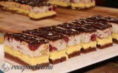 Fantasztikus szelet Hungarian Desserts, Hungarian Recipes, Sweet Recipes, Cake Recipes, Dessert Recipes, Torte Cake, Sweet Life, Food Videos, Cheesecake