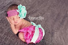 Newborn Lace bloomer set  Tickle me Pink  by MudpiesandPigtails
