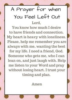 A Prayer For When You Feel Left Out - this can be used for young children, older kids, and even teenagers. God desires to be the focus of daily living in our lives and prayer is a great way to increase relationship with Him! Prayer Scriptures, Faith Prayer, Prayer Book, God Prayer, Prayer Quotes, Power Of Prayer, Prayer For Dad, Bible Quotes, Healing Prayer
