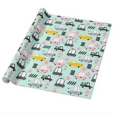 "Cute Retro Cars Glossy Wrapping Paper 30"" x 6' Wrapping Paper - fun gifts funny diy customize personal"
