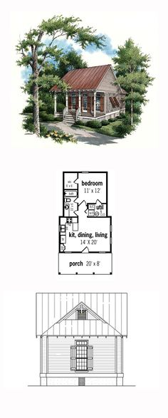 House Plan 65934 - Traditional Style House Plan with 569 Sq Ft, 1 Bed, 1 Bath Tiny House Cabin, Cottage House Plans, Tiny House Living, Tiny House Design, Small House Plans, Guest Cottage Plans, Wooden House Plans, 1 Bedroom House Plans, Amish House