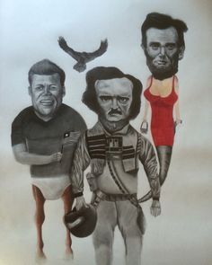 Kennedy,Poe and Lincoln (50x70cm)