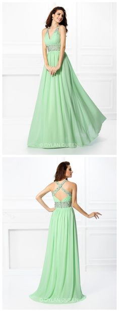 #dylanqueen #green beautiful V-neck &Floor-length Evening dress for party