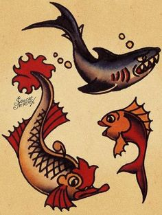 Ideas tattoo old school traditional ink sailor jerry for 2019 Traditional Tattoo Design, Traditional Ink, Traditional Tattoo Flash, American Traditional, Traditional Styles, Traditional Shark Tattoo, Traditional Sleeve, Traditional Nautical Tattoo, Traditional Sailor Tattoos