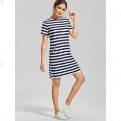 Striped Pocket T Shirt Dress Stripe Xl ($14) ❤ liked on Polyvore featuring dresses, stripe tee dress, stripe t shirt dress, striped tee shirt dress, striped t-shirt dresses and tee dress
