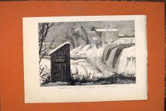 Antique Print of Canada Rideau Falls Sketches Canadian Old Print 1879