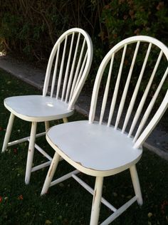 Set of 4 Vintage, Shabby Chic White Chairs, Distressed, Wood, Spindle Chairs, Dining Chair, Kitchen Chairs, Painted White, (Los Angeles) by ThePaintedLdy on Etsy https://www.etsy.com/listing/152229572/set-of-4-vintage-shabby-chic-white