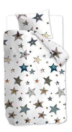 Beddinghouse Kids Lots of Stars - Kinderdekbedovertrek - Eenpersoons - 140x200 cm - Blauw Grijs