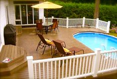 20 Ideas Backyard Deck Ideas With Pool Patio Small Deck Designs, Patio Deck Designs, Pool Designs, Patio Design, Oval Above Ground Pools, Above Ground Swimming Pools, In Ground Pools, Swimming Pools Backyard, Pool Landscaping