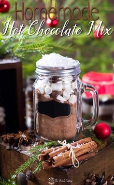 Homemade Hot Chocolate Mix recipe is more than just a beverage, it's a great last minute DIY Christmas gift idea -- free printable gift tag too!