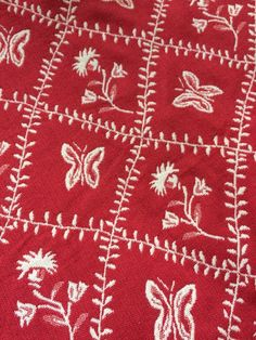 """Pierre Deux Woven Fabric Classic Floral Butterfly Red/White 55"""" X 72""""  2 YDS!!"""