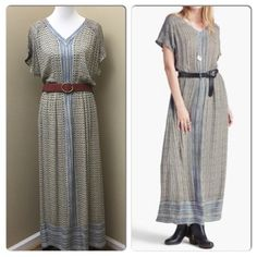 "Lucky Brand Turkish Scarf Maxi Dress- New w/Tags Look boho chic in this gorgeous lightweight maxi dress. Perfect lightweight dress to travel with this summer and easy to pack. Features a v-neck, short dolman sleeves, cinched waist and mixed prints with contrast center panel- will look great with your favorite belt or sash. 56.75"" inches long- 13.75"" inch sleeve length (from center back). Brand new with tags! Retails $129 Lucky Brand Dresses Maxi"