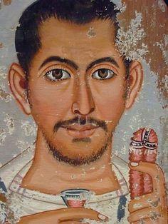 "eyesonhomme:  ""Mummy portrait of a Roman-Egyptian man, 220 CE  """