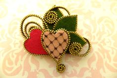 Hearts Felt Zipper Brooch For Coat Jacket Hat  by MsLolaCreates, $28.00