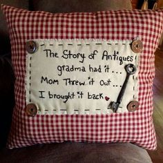 Sewing Pillows Hand made primitive pillow, made by Cindys Primitives Primitive Embroidery, Primitive Stitchery, Primitive Crafts, Primitive Snowmen, Primitive Christmas, Country Christmas, Primitive Patterns, Primitive Country, Father Christmas