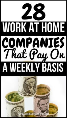 Looking for work at home jobs that pay on a weekly basis? You are at the right p… Looking for work at home jobs that pay on a weekly basis? You are at the right place! These 28 work from home companies pay every single week. Work From Home Companies, Online Jobs From Home, Cash From Home, Work From Home Opportunities, Earn Money From Home, Make Money Fast, Earn Money Online, Make Money Blogging, Earning Money