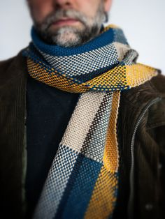 for him - hand woven mixed multicolor yellow wool scarf by TheWovenSheep on #Etsy