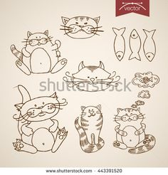 Happy #InternationalCatDay !!  a lot of #cat #vector #illustration by #Sentavio on #Animals collection: http://www.shutterstock.com/g/Sentavio/sets/2600606  Pets friendly funny animal icon set. Engraving style pen pencil crosshatch hatching paper painting retro vintage vector lineart illustration. Fat comic cat sit dreaming of fish mouse muzzle portrait.