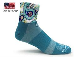 Teal Paisley Cycling Socks #crazycompression #crazyclan www.crazycompression.com