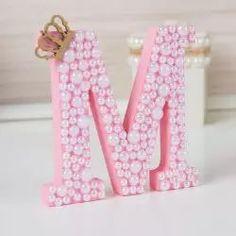 Letra em MDF Personalizada Rosa com Pérolas
