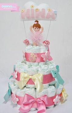 Bolo de fraldas - Ideias para chá de bebê de menina
