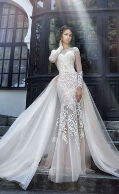 Cheap bridal gown, Buy Quality 2017 wedding dress directly from China vestido de noiva de Suppliers: Luxury Long Sleeve Lace 2017 Wedding Dresses Handmade robe de mariage Button Back Beaded vestido de noiva de renda Bridal Gowns Wedding Robe, Bridal Wedding Dresses, Dream Wedding Dresses, Wedding Attire, 2017 Wedding, Bridesmaid Dresses, Wedding Ceremony, Lace Mermaid Wedding Dress, Peacock Wedding