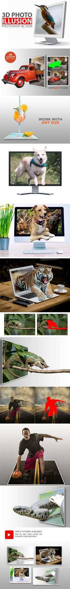 #3D Photo Illusion #Photoshop Action - Photo Effects #Actions