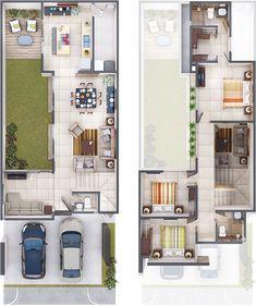 Modern home design – Home Decor Interior Designs Narrow House Plans, Duplex House Plans, Dream House Plans, House Floor Plans, Home Building Design, Home Room Design, Home Design Plans, Building A House, Minimalist House Design