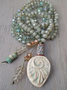 Long boho knotted necklace Whisper pale green by slashKnots