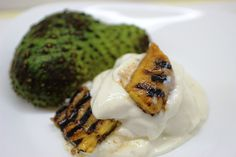 Soursop Ice Cream with Grilled Spiced Plantains by ELLICSRkitchen.ca #NOMNOM