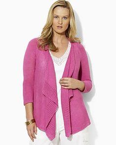 """I love tops like this!  Lauren by Ralph Lauren Plus Size """"Virginya"""" Linen Ruffle Cardigan"""