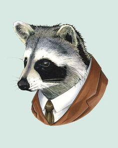 Raccoon animal print - modern kid art - art print - modern nursery - animals in…