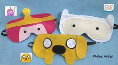 Adventure Time - Princess Bubblegum, Jake and Finn - Felt Sleeping Maks. Hora de Aventura - Princesa Jujuba, Jake e Finn. Máscaras de feltro para descanso, dormir.