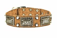 Dean and Tyler THOR Leather Dog Collar with Brass Plates and Nickel Studs  Tan  Size 24Inch by 112Inch  Fits Neck 22Inch to 26Inch >>> Continue to the product at the image link. This is an Amazon Affiliate links.