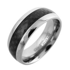 Ultra-contemporary styling in a mirror finish titanium dome ring with an all black carbon fiber inlay. Stunning ring!  Wholesale Titanium Rings & Wedding Bands. www.925express.com