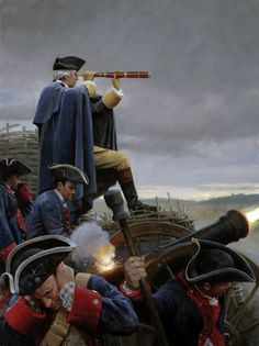George Washington and the Continental army bombarding Yorktown
