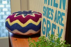 Zig zag crochet cushion with link to free pattern