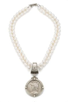 French Kande Double Freshwater Pearl Joan of Arc Ministry Medallion Necklace