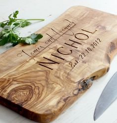 Rustic Olive Wood Personalized Cutting / Cheese / Charcuterie Board - Length 12in x Width 6in x Depth 0.75in