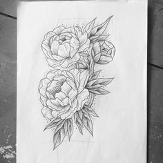 Black Ink Dotwork Peony Flowers Tattoo Design