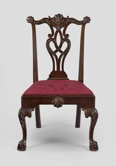 Side Chair -  Attributed to Thomas Affleck, American (born Scotland), 1740 – 1795.   Made in Philadelphia, Pennsylvania, Date: 1765-1770.   Walnut, yellow pine.  Dimensions: 40 3/16 x 22 1/16 x 22 7/16 inches (102.1 x 56 x 57 cm)