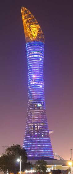 Aspire Tower, Doha, Qatar by Hadi Simaan Architect :: 36 floors, height 300m #modern ☮k☮ #architecture