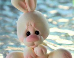 OOAK Polymer Clay Bunny Miniature Figurine