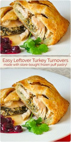 Leftover Turkey Turnovers - so easy to make using frozen puff pastry! - - Leftover Turkey Turnovers - some frozen puff pastry plus the leftovers from a roast turkey or chicken dinner combine in these easy to make turnovers. Thanksgiving Leftover Recipes, Leftover Turkey Recipes, Leftovers Recipes, Dinner Recipes, Turkey Leftovers, Thanksgiving Leftovers, Leftover Ham, Dinner Ideas, Quiches