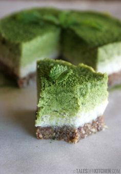 fla-vah:  Coconut Mint Matcha Cake  Ingredients: Base: 2 TBSP sunflower seeds, ground 2 TBSP linseed (flax seeds), ground 2 Medjool dates Fi...