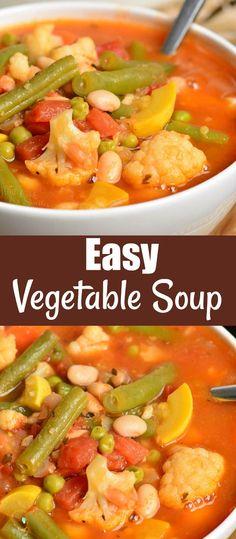 Easy Vegetable Soup, Homemade Vegetable Soups, Homemade Soup, Appetizer Recipes, Soup Recipes, Salad Recipes, Dinner Recipes, Cooking Recipes, Healthy Soup