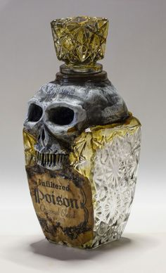 Skull Poison Bottle Vintage Pirate Sculpture by OrionOddities