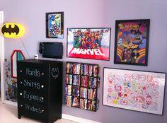 away we go: superhero bedroom } nice placement of furniture& art
