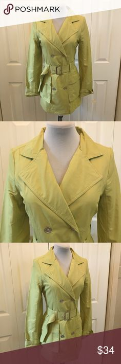 "NWOT Chartreuse Belted Trench Coat sz M Fantastic NWOT Chartreuse Belted Trench Coat sz M.   Look Fabulous in this trench when its rainy or chilly. Bust: 38"" Waist: 34"" Hip: 40"" Jou Jou Jackets & Coats Trench Coats"